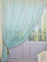 Готовые Шторы комплект для спальни из легкой ткани вуаль МЯТА  3 м.