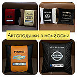 Автомобільні подушки з логотипом, держномером, подушки на підголовники, фото 10