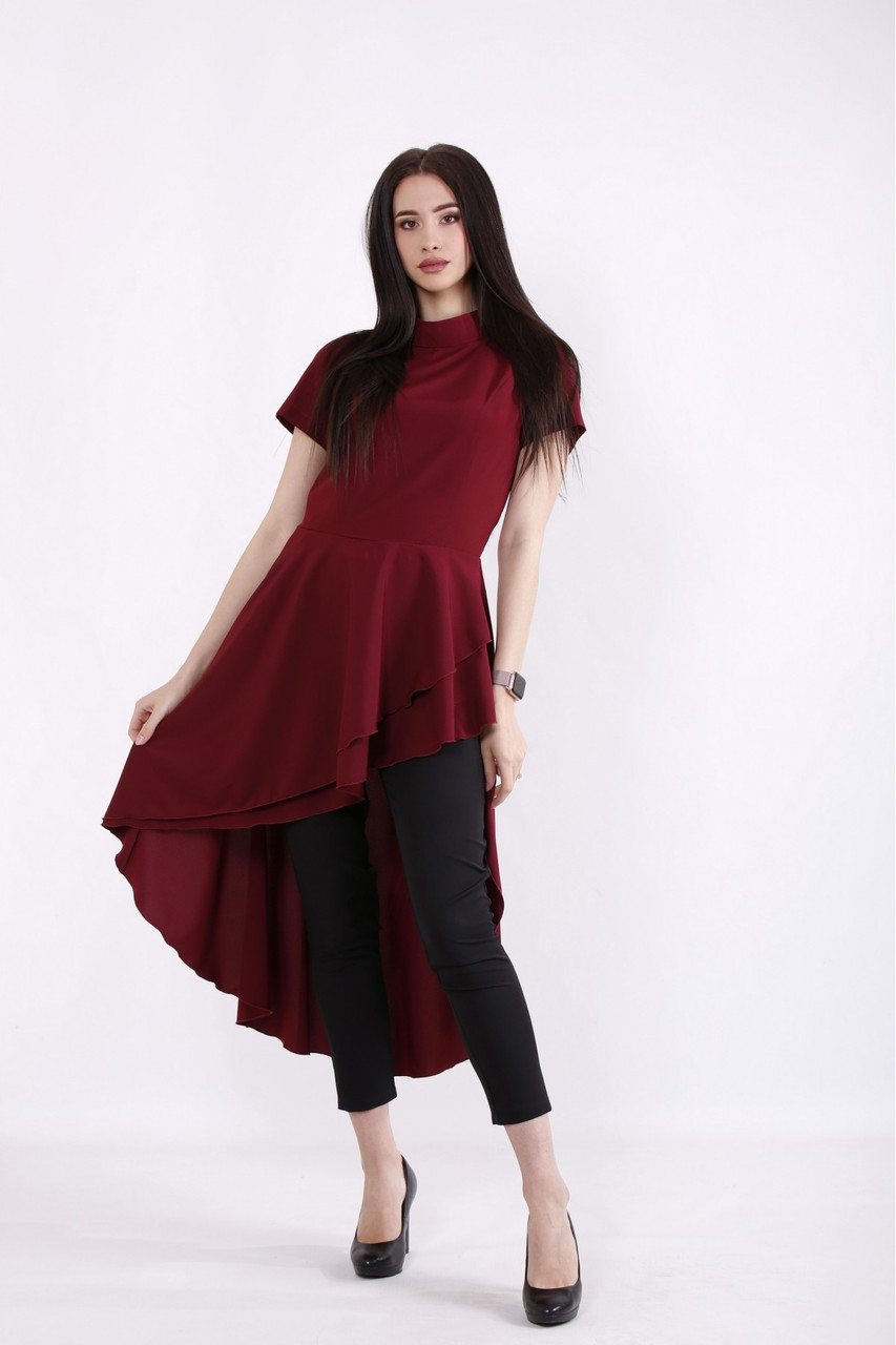 01461-1   Бордовая асимметричная блузка большого размера