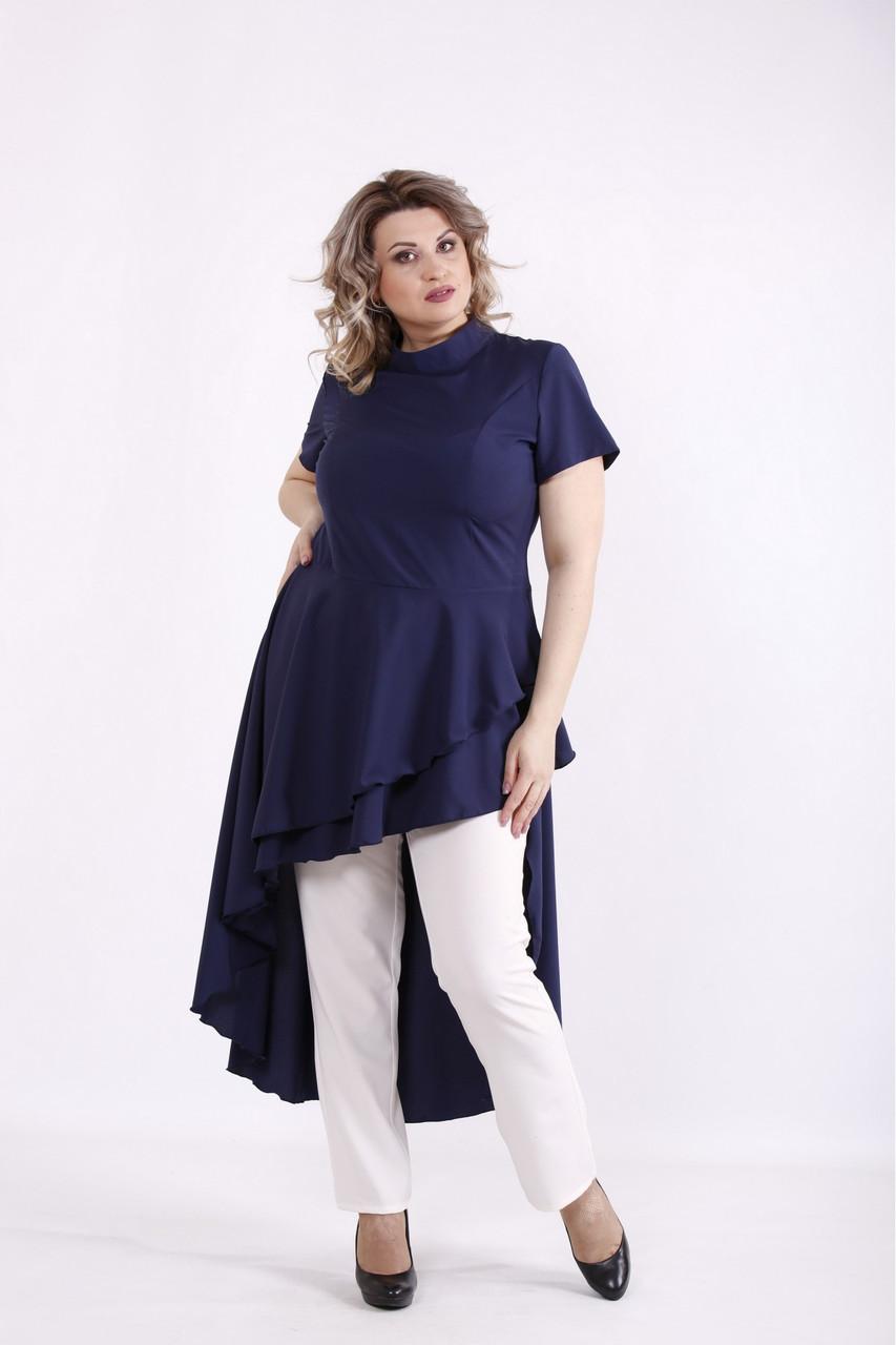 01461-2 | Синя асиметрична блузка великого розміру