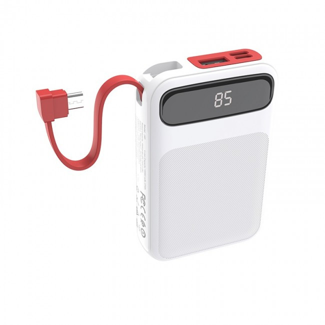 Power Bank Hoco J40 Powerful 10000mAh (с кабелем MicroUSB) White