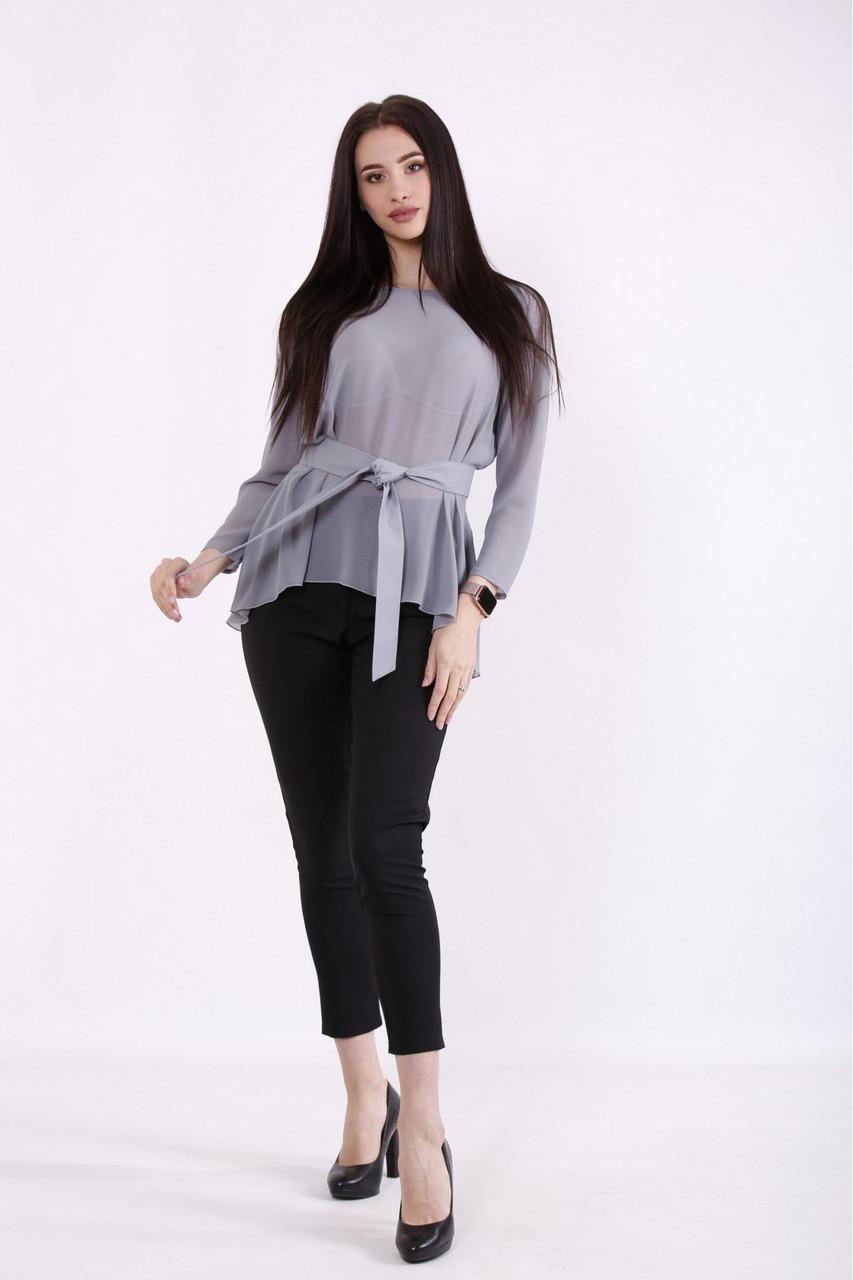 01467-1 | Сіра блузка з поясом великого розміру