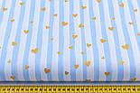 """Лоскут ткани с глиттерным рисунком """"Золотистые сердечки и голубые полосы"""" на белом (№2200а), 15*160 см, фото 2"""