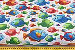 """Лоскут ткани """"Аквариумные рыбки разных цветов"""" на белом (№2228), размер 26*160 см, фото 3"""