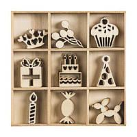 Набор мини-заготовок, День рождения, 10,5x10,5см, 45шт, Knorr Prandell