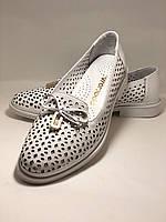 Женские летние туфли-балетки с перфорацией белого цвета. Размер 38.39 Турция., фото 8