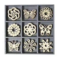 Набор мини-заготовок, Цветы и бабочки, 10,5x10,5см, 45шт, Knorr Prandell