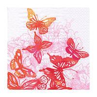 Декупажные салфетки ''Удивительные бабочки'', красные, 33x33 см, 17,5 г/м2, 20 шт, ti-flair