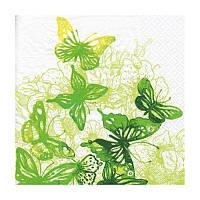 Декупажные салфетки ''Удивительные бабочки'', зеленые, 33x33 см, 17,5 г/м2, 20 шт, ti-flair