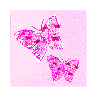Декупажные салфетки ''Две бабочки'', розовые, 33x33 см, 17,5 г /м2, 20 шт, ti-flair