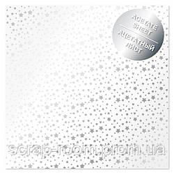 Ацетатный лист с фольгированием Silver stars 30,5х30,5 см Фабрика декора