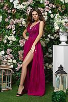 Роскошное вечернее платье в пол малиновый цвет размеры 42,44,46