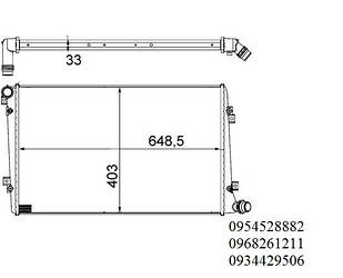Радиатор охлаждения VW Caddy 1.9TDI (55/77kW) 04-10 (403x648,5x33) MAHLE (Германия) CR 1203 000S