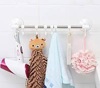 Полка для полотенец в ванную с крючками Hanging Rod Hook Towel SQ1918