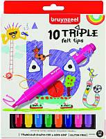 Набор детских фломастеров TRIPLE FELT, 10цв., с трехгранным корпусом, Bruynzeel