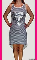 Платье повседневное. One size (44-46). Платье белое в синюю полоску. Женская одежда