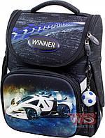 Рюкзак школьный Winner-stile 26*14*34 (чёрный с синим самолётом)