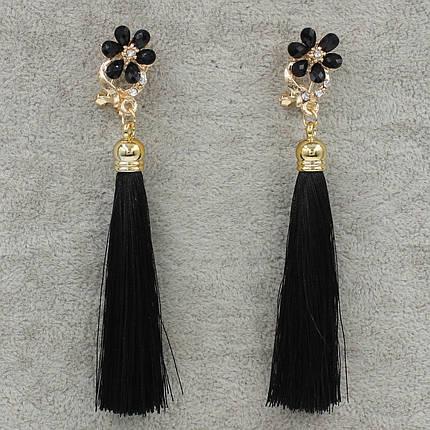 Серьги Кисти Черный L- 9,5 см Бижумир, фото 2
