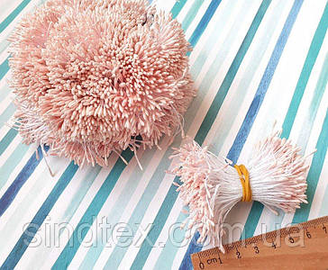 (4200шт) Тычинки гладкие на нитке, 2100шт двухсторонних ниток, головка 5х1,5мм Цвет - Розовый нежный