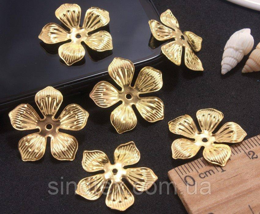 (10шт) Филигрань, декор из металла Ø24мм Цвет - Золото (сп7нг-0257)