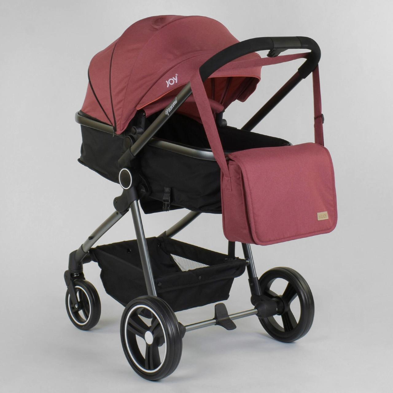 Детская коляска трансформер 2 в 1 JOY Naomi Бордовая детская коляска, сумка, футкавер