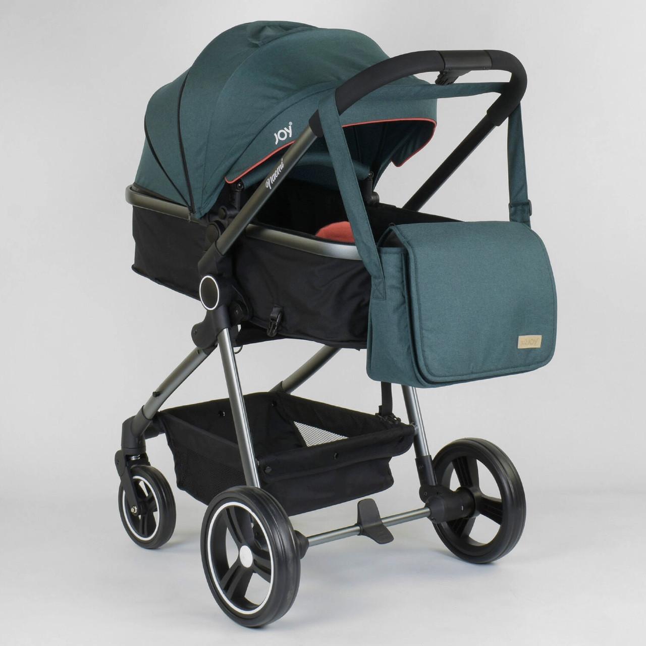Детская универсальная коляска 2 в 1 JOY Naomi  Коляска 2в1 Темно-бирюзовый цвет, сумка, футкавер
