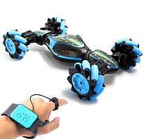 Трюковая Машинка вездеход трансформер перевертыш на радиоуправлении и управление от руки 33см Skid Ding UD 2196A синий