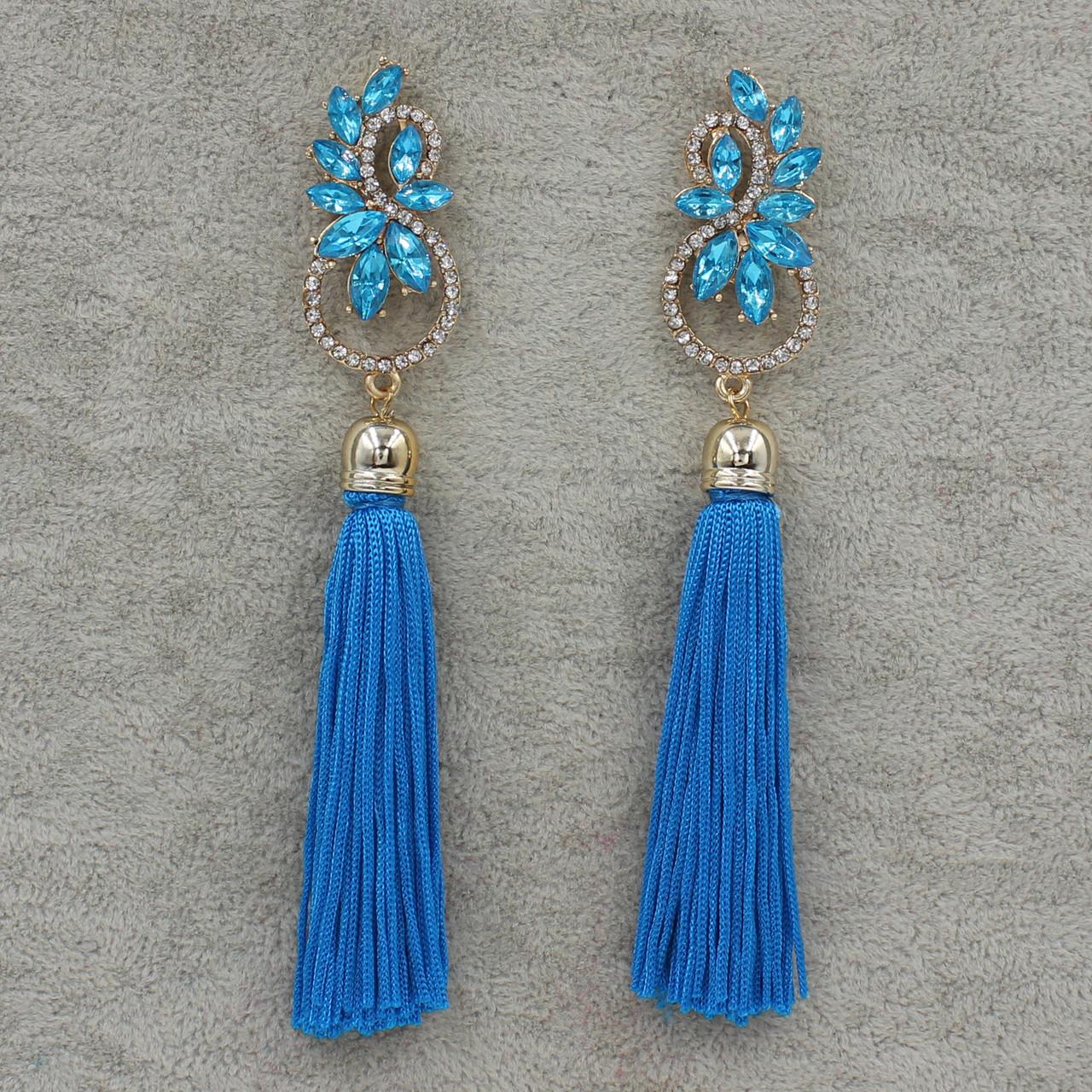 Серьги длинные Голубой L-12 см БижуМир