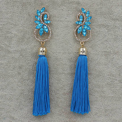 Серьги длинные Голубой L-12 см БижуМир, фото 2