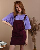 Стильный женский вельветовый сарафан с карманами черный велюровый S, Бордовый