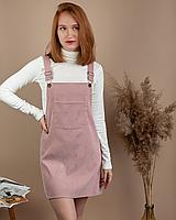 Стильный женский вельветовый сарафан с карманами черный велюровый XL, Розовый