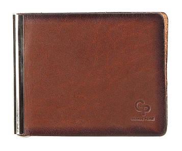 Стильный кожаный зажим для банкнот GRANDE PELLE 00233, Коричневый