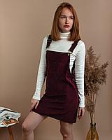 Стильный женский вельветовый сарафан с карманами черный велюровый M, Бордовый