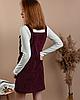 Стильный женский вельветовый сарафан с карманами черный велюровый M, Бордовый - Фото
