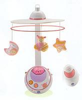 Дитяча Музична Іграшка Підвіска-мобіль-Карусель на ліжечко з проектором Рожеві Magic Stars Сһіссо Чіко