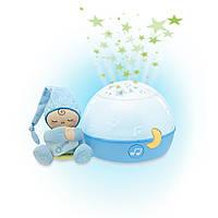 Дитяча Знімна М'яка Іграшка проектор-нічна лампа Зірки Блакитний з мелодіями і звуками природи Chicco Чіко
