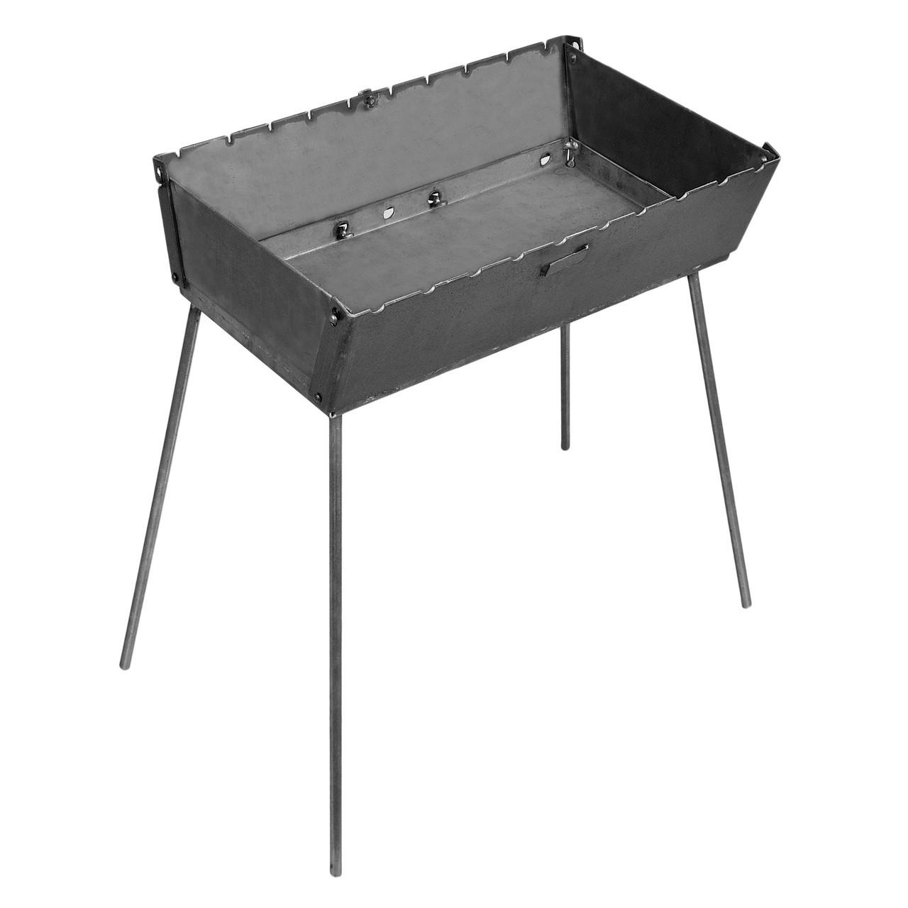 Мангал чемодан складной на 10 шампуров, толщина стали 3 мм, мангал