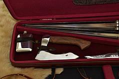 """Подарочный набор для мужчины с шампурами, охотничьим ножом, топором, флягой """"Сафари XXL"""", в кейсе из эко-кожи, фото 3"""