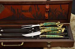 """Подарочный набор для рыбака: авторские шампура, рыбацкий нож, вилка, топорик """"Рыбак люкс"""", фото 3"""