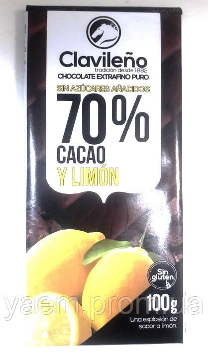 Черный шоколад без глютена c лимоном Clavileno y limon 70% cacao, 100гр (Испания)