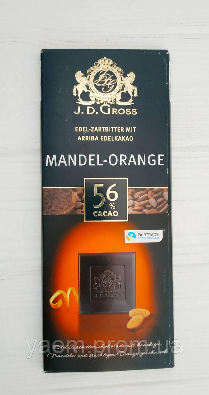 Черный шоколад J.D. Gross 125 гр 125, Mandel-orange 56%