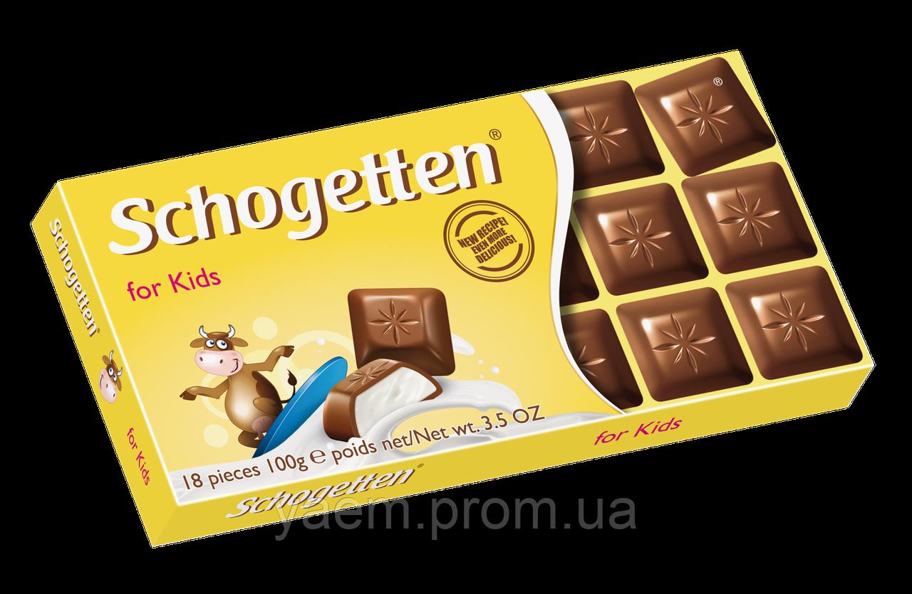 Шоколад Schogetten (Германия) 100, For Kids (для детей с молочным кремом), Молочный