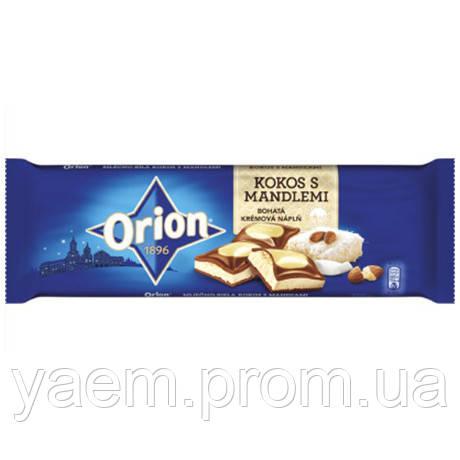 Молочно-белый шоколад с кокосом и миндалем Orion kokos s mandlemi, 240гр (Чехия)