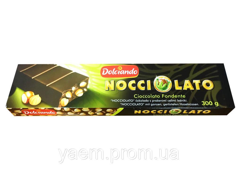 Черный шоколад с цельным орехом Dolciando Nocciolato, 300гр (Италия)