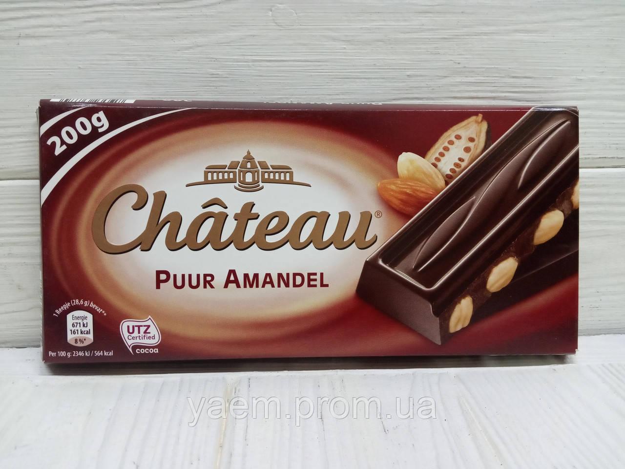 Шоколад Chateau 200г (Германия) 200, Puur Amandel (черный с миндалем)