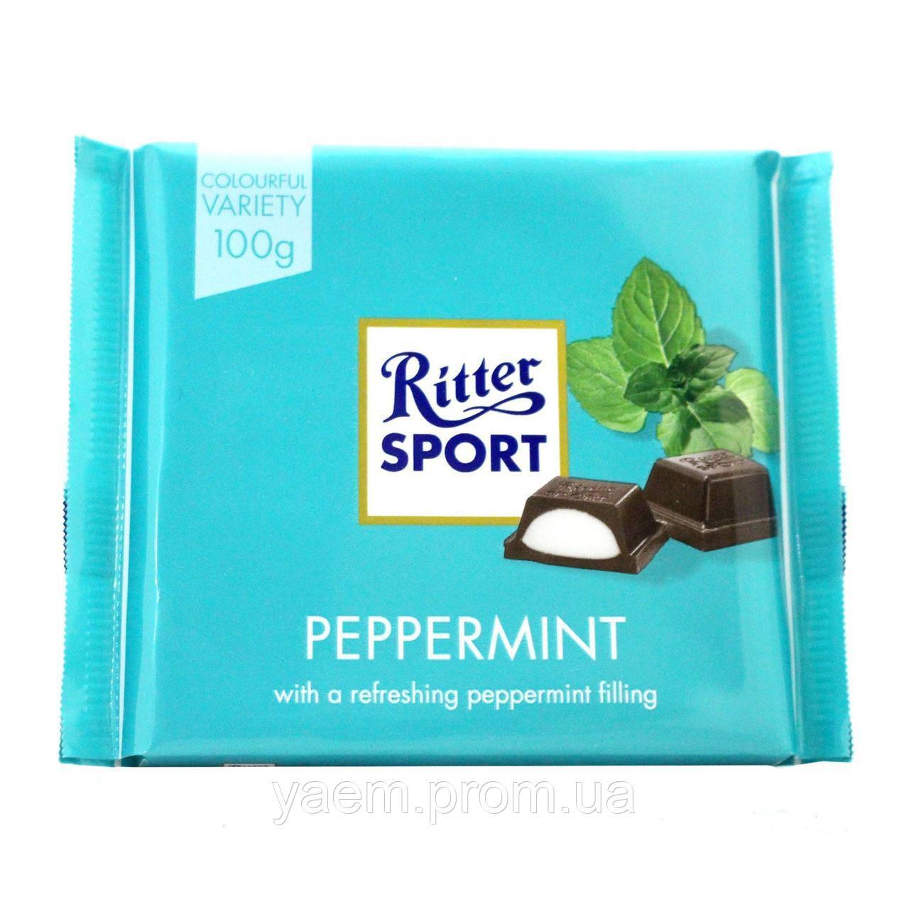 Шоколад Ritter Sport 100гр. (Германия) 100, Peppermint (черный с кремово-мятной начинкой)
