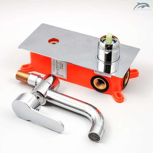 Оригинальный смеситель скрытого монтажа для раковины SGR-02 выполнен из сантехнической латуни.