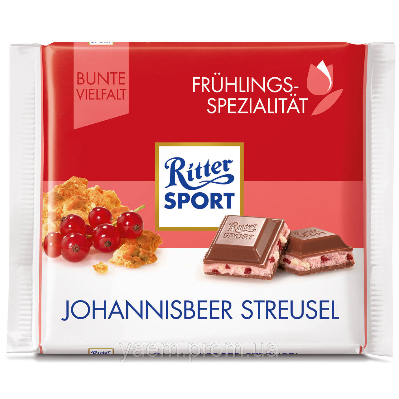 Шоколад Ritter Sport 100гр. (Германия) 100, Johannisbeer streusel (молочный с красной смородиной и кусочками печенья)
