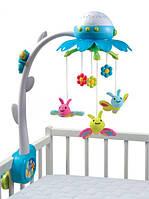 Детская Музыкальная Игрушка Подвеска-Мобиль Карусель на кроватку с проектором цветочек с пультом Cotoons Smoby