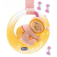 Детская Музыкальная Игрушка Подвеска-Мобиль на кроватку розовая с лунным свечением Луна регулируемая Chicco